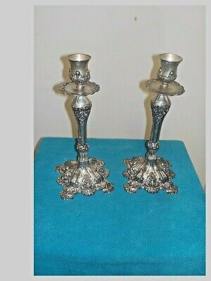 Pair Of Antique Silver Plated Candle Holders Ornate &  Embossed Floral.