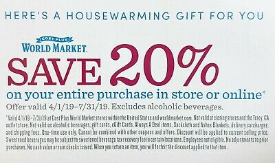 Pier 1, Overstock, Crate&Barrel, Cost Plus World Market, Wayfair Coupons