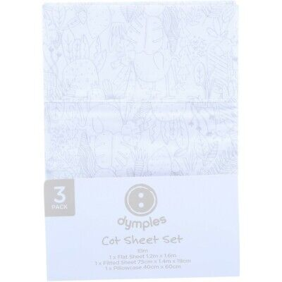 Dymples Baby Cot Sheet Set - White
