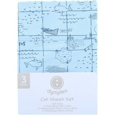 Dymples Baby Cot Sheet Set - Blue