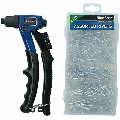Compact Hand Pop Pot Rivet Riveter Fastening Tool Complete With 320 Alu Rivets