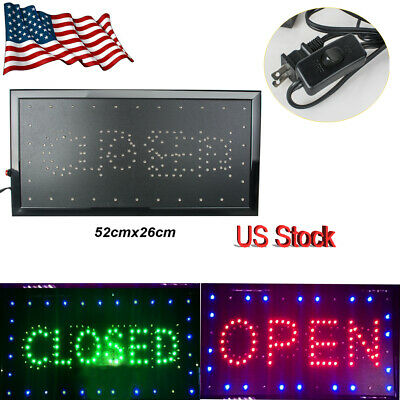 26*52cm LED 2in1 Open Closed Store Shop Business Sign Display Neon Animated