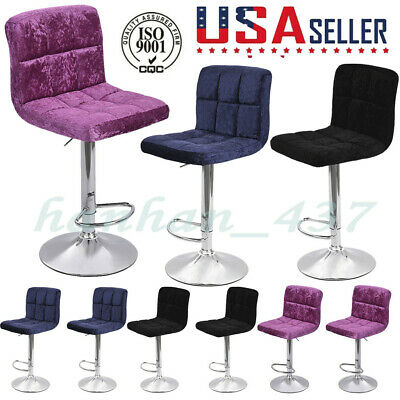 6PC Bar Table Snowflake Velvet Bar Chair Seat Plating Foot Rotated 360° US LOT