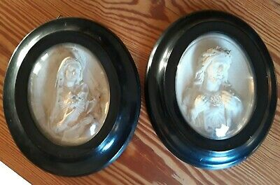 PAIR of Antique French, Hand Carved Meerschaum Icons , MARIA AND JESUS