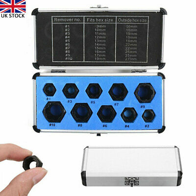 10PCS Damaged Nut Bolt Remover Stud Extractor Set Broken Bolt Removal Tool Kit