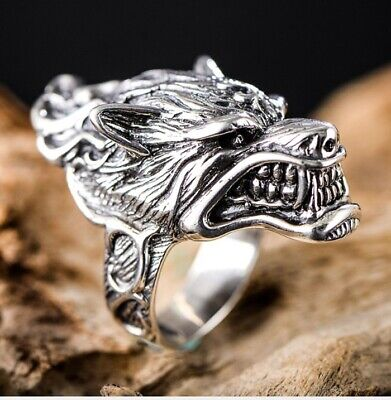 925 Sterling Silver Mens Biker wolf head Ring Rings Jewelry size 7-12 S3950