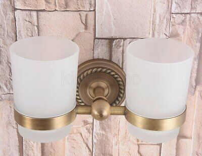 Antique Brass Wall Mounted Bathroom Toothbrush Holder With Double Glass Cups