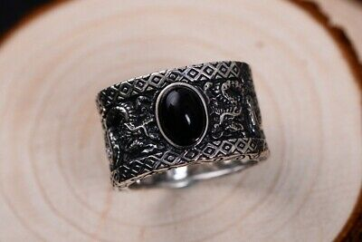925 Sterling Silver & agate Mens Biker oxidized Dragon Ring Rings Jewelry  S3953