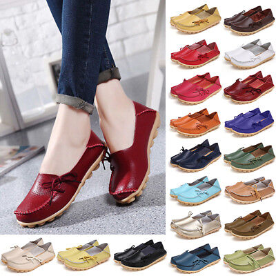 UK Womens Loafers Mocassin Leather Flats Pumps Ladies Silp On Boat Shoes Size