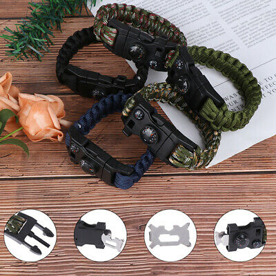 Outdoor Camping Survival Bracelet Paracord Rescue Wristband Umbrella Rope KitK