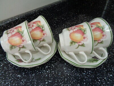 Churchill Victorian Orchard Cups And Saucers X 4