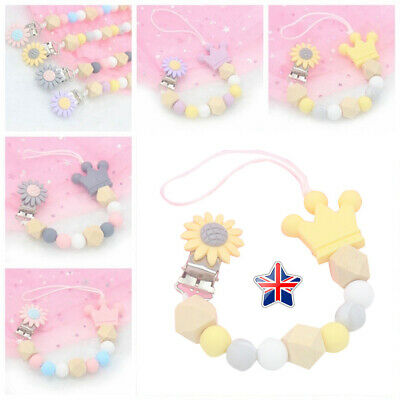 Dummy Clips Baby Teeth Chain Pacifier Teething Silicone Beads Strap Holder Kit