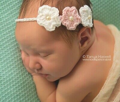 Baby Hand Crochet Knitted Flower Headband/Hat Prop Girl Pearl Cotton Newborn- 6M