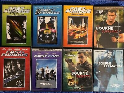 DVD Movies lot of 8 - Fast and Furious 1-5, The Bourne Trilogy