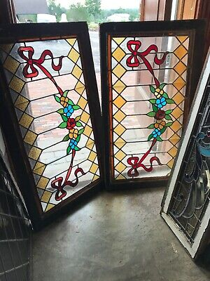 Sg 2913 2 Av Price each Antique Transom Window Stained Glass Flower 22 x 38