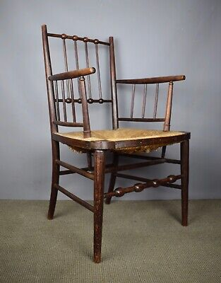 Antiques Arts & Crafts Rush Seated Sussex Chair