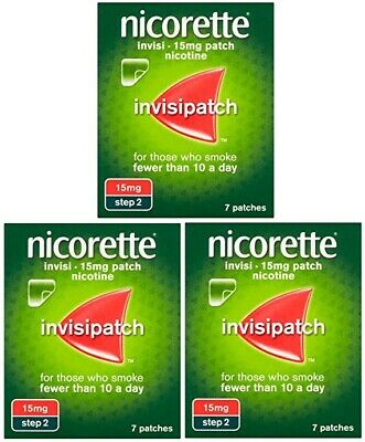 3 x 7 Pack Nicorette Invisipatch 15mg (STEP 2) | Total 21 INVISI Patches