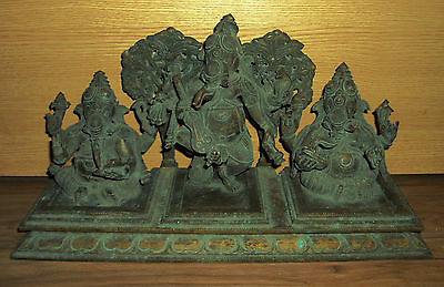 Antique Hindu Set Of God Ganesha Traditional Indian Ritual Brass Reproduction