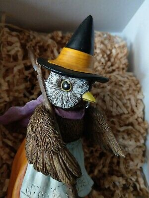 Vintage Halloween Style OWL witch figurine