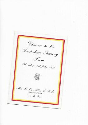 Australian Touring Team 1975 M.C.C Dinner Menu Card Signed By mallet & Lillee