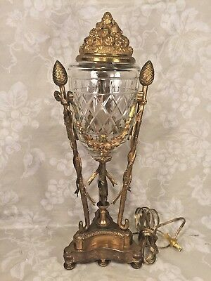 Antique French Gilt Bronze and Crystal Urn Lamp Works! Unmarked