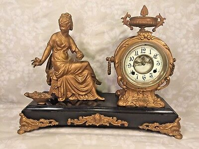 Antique New Haven Spelter Figural Clock  Woman and Bird Slate Base Not Running