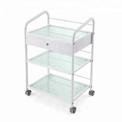 Glass Salon Trolley Hairdressing Beauty Cart Spa Display Cabinet Stand white