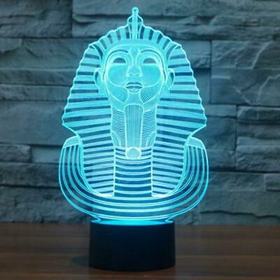 3D Illusion Lamp Egyptian Sphinx Pharaoh Night Light 7 Colors Changing Decor Art