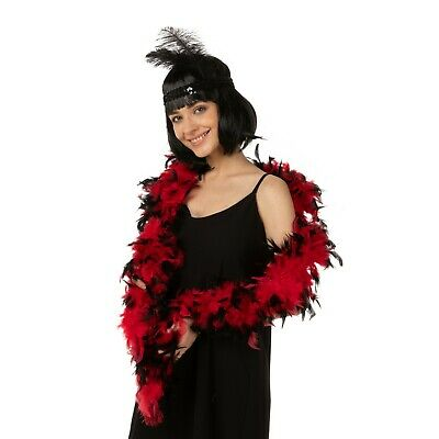 Feather Boa Thick Luxury High Quality Red Black 80G Gatsby School Flapper Uk
