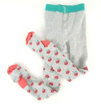 Girl's Mini Boden Everyday Tights Size 3 - 4 Gray Pink Roses Footed