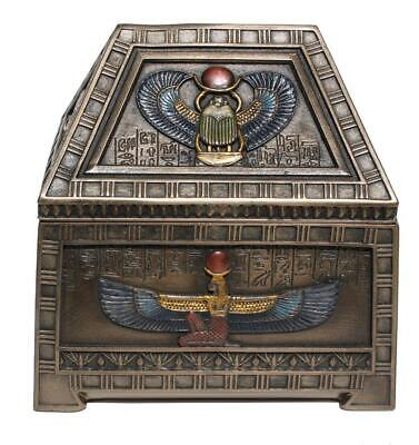 Ancient Egyptian Trinket Jewelry Box Cold Cast Bronze Heart Scarab And Isis Gift
