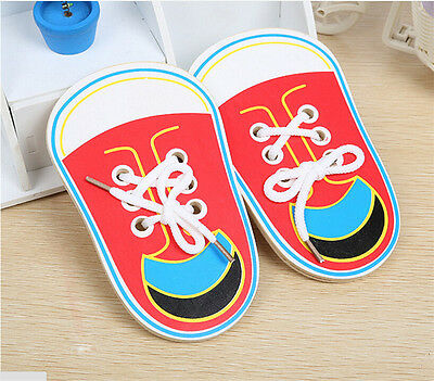 Wooden Lacing Shoe Learn to Tie Laces Educational Motor Skills*kids Children  TE