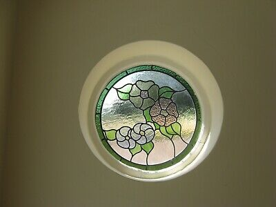 Vintage Round Circular Stained Glass Lead Wooden Window Frame