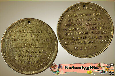 """Aust. E.W.Coles Token """"Federation of the Whole World"""" Brass (Dean 81)"""
