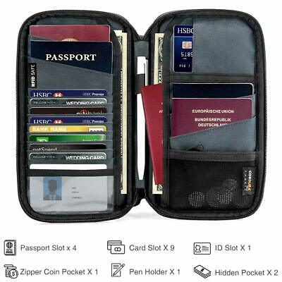 tomtoc Family Passport Holder, RFID Blocking Travel Wallet with 4 Passport Slot