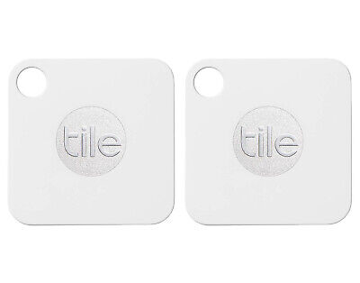 Tile Mate Key Finder Phone Finder Anything Item Tracker White/Gray 2-Pack T3001