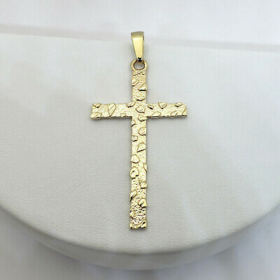 """Solid 18K Yellow Gold Nugget Cross Crucifix Pendant Charm, 5.9 grams, 2 3/8"""""""