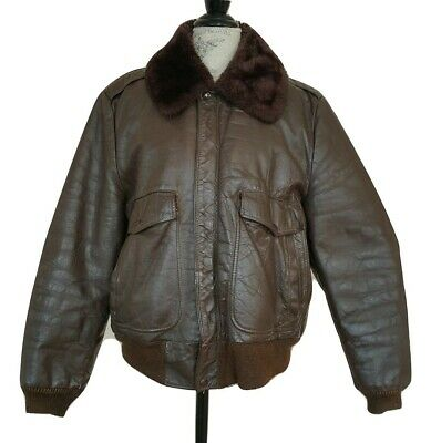 Vintage Brown Leather Bomber Jacket Size 42 Sherpa Faux Fur Lined Collar Coat