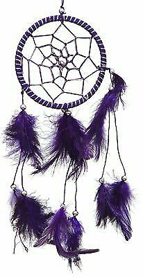 "Purple Dream Catcher with Feathers 3.5"" Diameter 12"" Long"