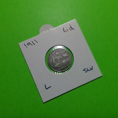 1911 London Mint Australian Sixpence Sterling Silver Coin – Zac or Tanner - Grg