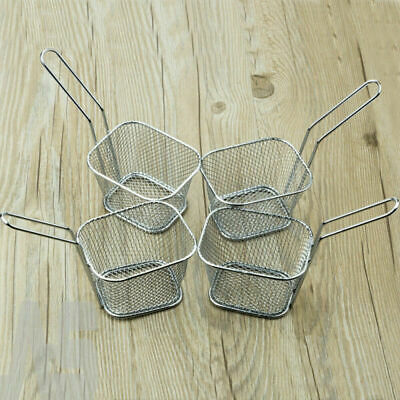 8X Mini Fry Kitchen Baskets Restaurant Chips Strainer Serving Food Basket Tool
