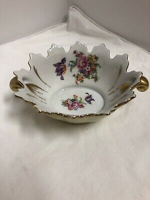 Antique Beautiful Porcelain French Limoges Painted Bowl  Handles