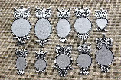 10 Owl Charms Antique Silver Tone Cute 2 Sided SC2292