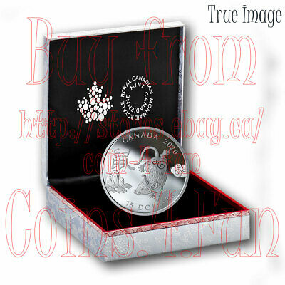2020 - Year of the Rat - $15 1 OZ Pure Silver Proof Coin - Canada