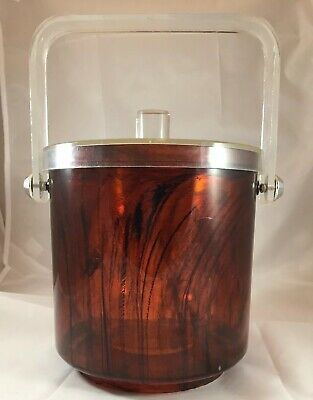 MCM Lucite Ice Bucket Marbled Brown Barware Mid Century Modern Vintage Acrylic
