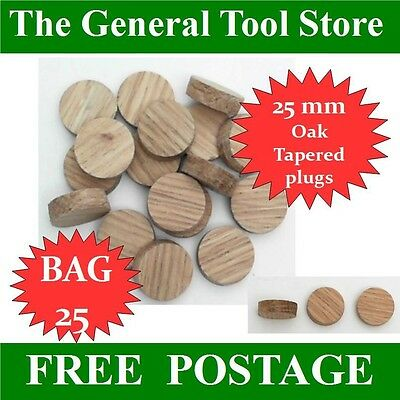 Solid Oak Tapered 25 Mm Plug  Bag 25 Plugs Skirting Doors Floor Boards Etc