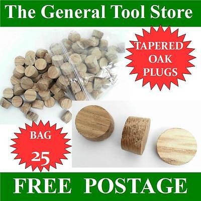 Solid Oak Tapered 10 Mm Plug  Bag 25 Plugs Skirting Doors Floor Boards Etc