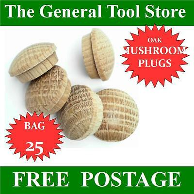 16 Mm Bag 25 Solid Oak Mushroom Head Wooden  Plugs For Covering Screw Heads Etc