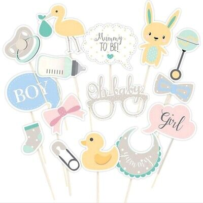 15Pcs Boy Girl Baby Shower Photo Booth Props Birthday Party Unisex Decor Trendy
