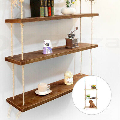 Rustic Solid Wood Rope Hanging Wall Mount Country Classic Storage Floating Shelf